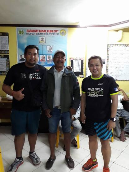 From the left (RD Blue Tradio, Busay Brgy. Captain Hon. Amilo G. Lopez, Doc Gerry Mayo) posed to support this year's race event.